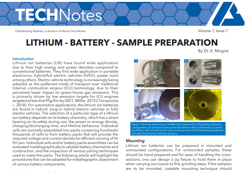 lithium battery sample prep